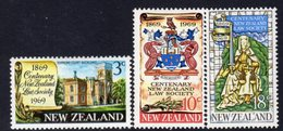 New Zealand 1969 Law Society Centenary Set Of 3, Hinged Mint, SG 894/6 - Unused Stamps