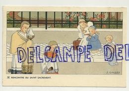 Rencontre Du Saint Sacrement. Petite Fille, Anges, Poupée. Signée Gouppy. 1946 - Anges