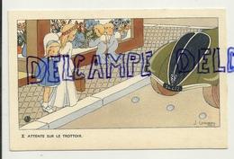 Attente Sur Le Trottoir. . Petite Fille, Anges. Signée Gouppy. 1946 - Anges
