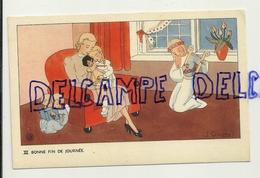 Bonne Fin De Journée. Petite Fille, Maman, Poupée Anges, Luth. Signée Gouppy. 1946 - Anges