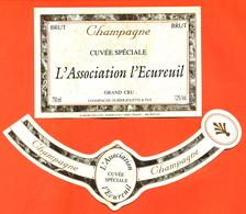 étiquette + Collerette De Champagne Brut L'association L'écureuil Hurier Jouette à Verzy - 75 Cl - Champagne