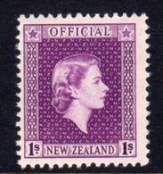 New Zealand QEII 1954-63 1/- Purple Official, MNH, SG O166 - Unused Stamps