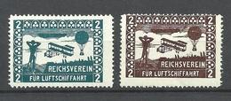 GERMANY 2 Old Vignettes Reichsverein Für Luftschifffahrt Zeppelin Reklamemarken * - Vignetten (Erinnophilie)