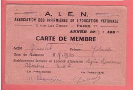 CARTE MEMBRE ASSOCIATION DES INFIRMIERES DE L EDUCATION NATIONALE 1959 1960 AIEN - Organizations