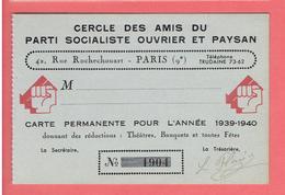 CARTE PERMANENETE ANNEE 1939 1940 CERCLE DES AMIS DU PARTI SOCIALISTE OUVRIER ET PAYSAN - Organisations