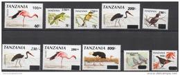 Tanzania 1998-2004 Birds Oiseaux Vögel Sunbird Pigeon Oiseau Vogel Definitives Overprint Surcharge Set 10 Stamps MNH** - Tanzania (1964-...)