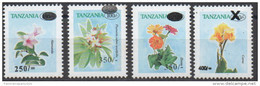 Tanzania 2002-2004 Flowers Fleurs Blumen Flore Flora Blüten Definitives Overprint Surcharge Set 4 Stamps MNH** - Tanzania (1964-...)