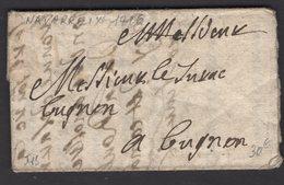 BASSES PYRENEES : Pli De 1706 En Port Du De NAVARREIX Sans Marque Postale Pour BAYONNE - Marcophilie (Lettres)