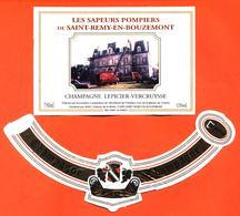 étiquette + Collerette De Champagne Brut Sapeurs Pompiers De Saint Remy En Bouzemont Lepicier Vercruysse - 75 Cl - Champagne