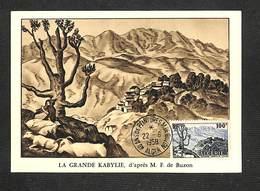 ALGÉRIE - Carte Maximum 1958 - 40 ANS DE PEINTURES - M. DE BUZON - ALGER - LA GRANDE KABYLIE - Cartes-maximum