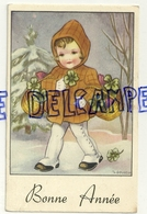 Bonne Année. Petite Fille Dans La Neige, Panier De Trèfles. Signée Gougeon. 1955 - Gougeon