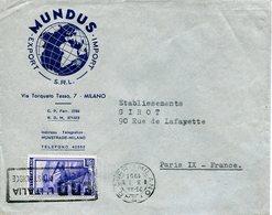 """Repubblica (1951) - Busta Con 20 Lire """"Italia Al Lavoro"""" In Tariffa Ridotta Per La Francia - 6. 1946-.. Repubblica"""