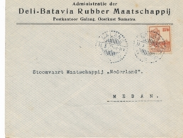 Nederlands Indië - 1922 - 12,5 Cent Op 17,5 Cent Wilhelmina Op Business Cover Van LB GALANG Naar Medan - Niederländisch-Indien