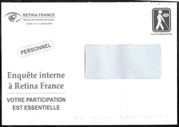 Entier Enveloppe TSC Cécogramme . Rétina France , Maladies De La Vue . - Prêts-à-poster:Stamped On Demand & Semi-official Overprinting (1995-...)