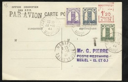 C P Par Avion Office Chérifien PTT Casablanca Le 29/10/1944 à Mériel 4/11/1944  EMA 1F20 Et Les N°205;210;212 Tri. TB - Briefe U. Dokumente