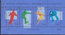 FINLAND - SPORT INVERNALI 1991 - FOGLIETTO USATO -  (YVERT BF 08 - MICHEL BL 08) - Inverno