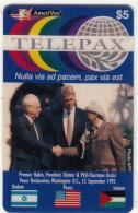 USA - Telepax/Premier Rabin-President Clinton & PLO Charmain Arafat, Amerivox Prepaid Card $5, Tirage 10000, 12/93, Mint - Stati Uniti