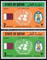 ~~~ Qatar 1976 - United Nations Day - Mi. 713/714 ** MNH ~~~ - Qatar
