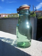 "Vintage French Bottle""L'Ideale"" Glass Conserve Bottle,Ceramic Lid,Aqua Green Glass Bottle,Mason Glass,French Country Far - Otras Botellas"
