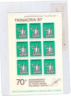 Sicilia Palermo  Foglietto Trinacria 87 --  70°Ann. Di Posta Aerea Palermo - Napoli - Erinnofilia