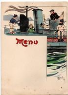 Gervèse - Menu 1909 - Cuisinier Sur Contre-torpilleur Avec Chien - Marine Navy - Bristol 19,5 X 14 Cm - Menus