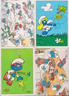 LES SCHTROUMPFS - SCHTROUMPF - SMURFY - PEYO 1988/1989 - LOT DE 6 CARTES POSTALES CIRCULEES TIMBREES EN POLOGNE - BD - Bandes Dessinées