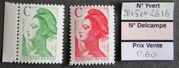 FRANCE - 1990 - YT 2615 Et 2616 - Type Liberté - Lettre C - Frankreich