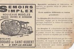 Postkaart-Carte Postale ORP-LE-GRAND Semoirs Simplex - Edouard De St-Hubert   (o716) - Orp-Jauche