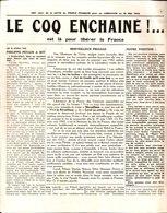 """"""" Le Coq Enchainé """" Est Là Pour Libérer La France.686° Jour De La Lutte Du Peuple Français Pour Sa Libération 10/05/1942 - Revues & Journaux"""