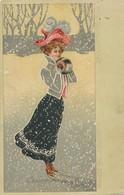 CPA - Thèmes - Illustrateur - Flocons De Neige - 1903 - Femme Dans La Neige - Illustrators & Photographers