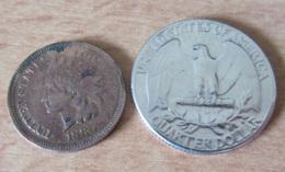 Etats-Unis - 2 Monnaies : One Cent 1880 En Cuivre - TTB / Quarter Dollar 1952 En Argent - SUP - Bondsuitgaven