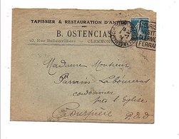 LETTRE A EN TETE B. OSTENCIAS TAPISSIER à CLERMONT FERRAND 1924 - Marcophilie (Lettres)