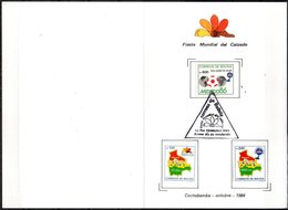 Bolivia 1984 CEFIBOL 1216-18T. Tarjeta Conmemorativa Industria Del Cuero. Mapa. Balon. Calzado. Deportes. Futbol - Bolivie