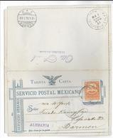 MEXICO - 1896 - CARTE-LETTRE ENTIER POSTAL AVEC REPONSE PAYEE => BARMEN (GERMANY) Via EAGLE PASS TEXAS - Mexique
