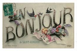 Carte Fantaisie (fleurs, Ruban, Hirondelles) Un Bonjour De Saint Gengoux Circulé 1907, Cachet Convoyeur Cluny à Chalon - France