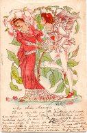 Très Beau Dessin En Couleur Avec Un Ange / Oblitération Du 27 Avril 1901 - Ilustradores & Fotógrafos