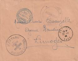 France Lettre Avec Cachet  Des FFFi Du Tarn Section Castres Du 21 11 1944 En Francise Pour Limoges Avec Cachet Limoge 23 - Marcophilie (Lettres)