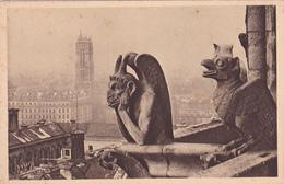 CPA 75 @ PARIS NOTRE DAME - CATHEDRALE - CHIMERE GARGOUILLE - Le DIABLE D' YVON Tour St Jacques - Série Paris En Flanant - Notre Dame De Paris