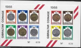 GIBRALTAR - NUOVE MONETE 1988 - DUE FOGLIETTI NUOVI** - (YVERT BF 12/13 - MICHEL BL 13/14) - Gibilterra