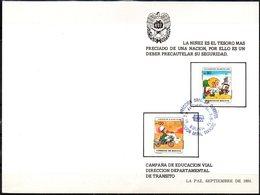 Bolivia 1984. CEFIBOL 1212-13T Tarjeta Conm. Educación Transito Y Seguridad Vial: Escolar En La Calle. Policia En Moto. - Bolivie