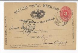 MEXICO - 1892 - CARTE ENTIER POSTAL De CHIHUAHUA => TOURNAI (BELGIQUE) - VARIETE IMPRESSION ! - Mexico