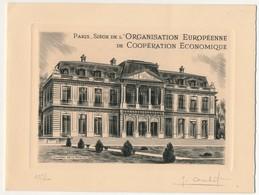 Encart EUROPA 1958 Paris 13 Sept 1958 - Siège De L'Organisation Européenne Coopération économique, Signé Combet 475/600 - Artist Proofs