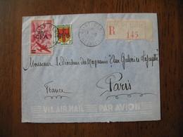 Lettre Recommandée 1951 N° R 145 Par Avion De Saint-Denis Pour Le Directeur Des Magasins Aux Galeries Lafayettes Paris - Reunion Island (1852-1975)