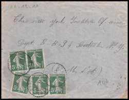 9206 N°137 Semeuse 5c X5 Gerbepal Vosges New York Institute 1911 France Lettre Cover - Marcofilia (sobres)