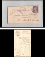 9296 Lac Tribunal Vaucouleurs 1907 N°136 Semeuse 35c Lettre Recommande Cover - Postmark Collection (Covers)