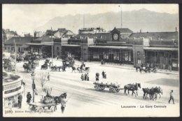 Lausanne - La Gare Centrale - Fuhrwerk - Kutsche - Voiture - 1905 - VD Vaud