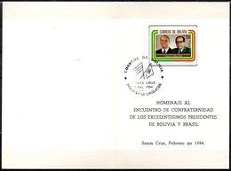 Bolivia 1984 CEFIBOL 1190T Tarjeta Conmemorativa Del Encuentro De Confraternidad Bolivia - Brasil. - Bolivie