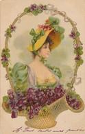 CPA - Thèmes - Illustrateur - Avant 1930 - Portrait De Femme - Panier - Autres Illustrateurs