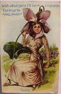 Cpa  Gaufrée FLEURS  FLEUR Humanisée VIOLETTE COQUETTE . FLOWERS . DRESSED FLOWER VIOLET  Embossed Old Pc - Fleurs