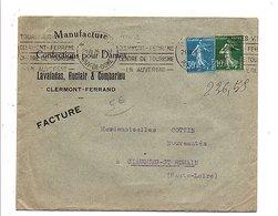 LETTRE A EN TETE LAVALADAS CONFECTIONS à CLERMONT FERRAND 1926 - Marcophilie (Lettres)